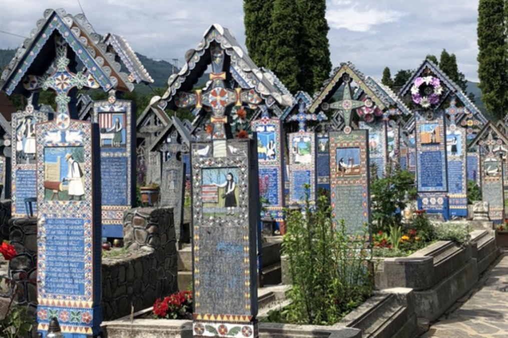 famous hand carved and painted wooden gravestones in Hungary